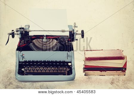 Old Typewriter With Books Retro Colors On The Desk