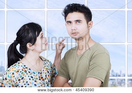 Girlfriend Angry At Boyfriend In Apartment
