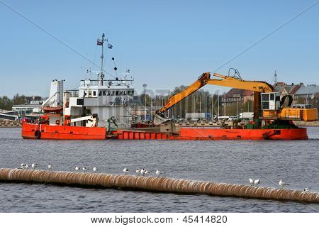 Industrial Ship On Dredging Works