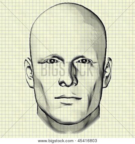 Esboço de uma figura masculina em papel milimétrico