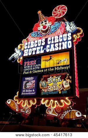 Circus Circus Casino And Hotel Resort On The Las Vegas Strip At Night