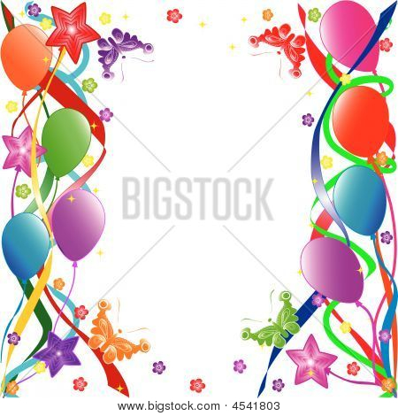 Colorful birthday balloons with ribbons flowers butterflies. vector poster
