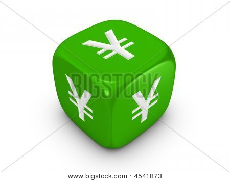 Green Dice With Yen Sign