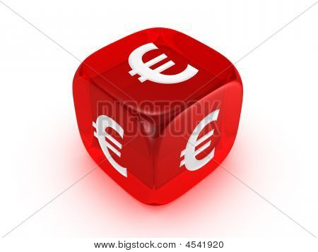 Translucent Red Dice With Euro Sign