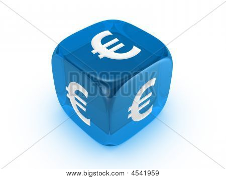 Translucent Blue Dice With Euro Sign