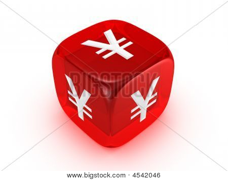 Translucent Red Dice With Yen Sign