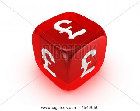 Translucent Red Dice With Pound Sign