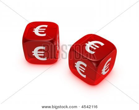 Pair Of Translucent Red Dice With Euro Sign