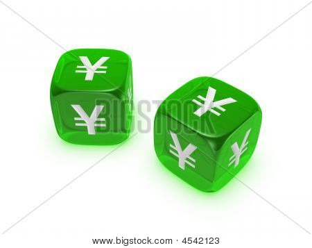 Pair Of Translucent Green Dice With Yen Sign