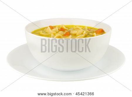 Chicken Noodle Soup On White Background