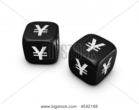 Pair Of Black Dice With Yen Sign