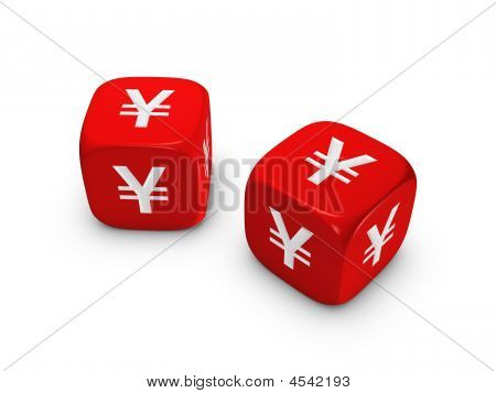 Pair Of Red Dice With Yen Sign