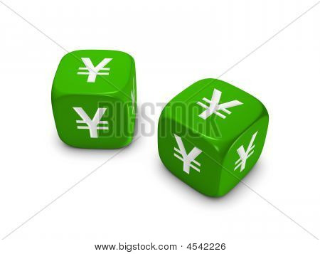 Pair Of Green Dice With Yen Sign
