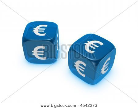 Pair Of Translucent Blue Dice With Euro Sign