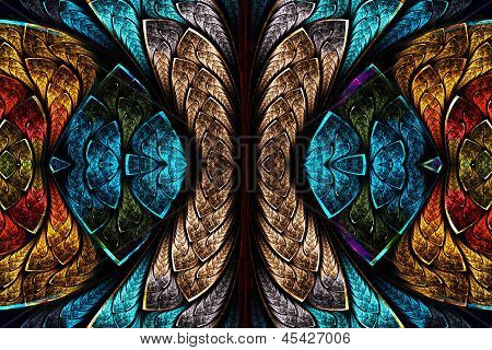 Fractal Pattern In Stained Glass Style. Computer Generated Graphics.