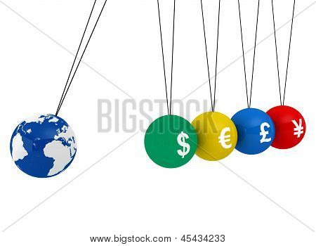 Pendulum of 3D spheres with globe and the currency - symbolizes the impact of the global economy to changes in exchange rates poster