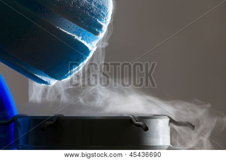 Container With Liquid Nitrogen, White Lighting