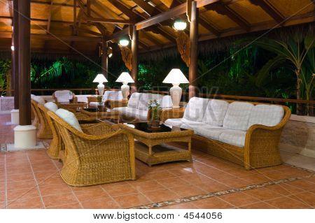 Interior Of Tropical Hotel Lobby Reception