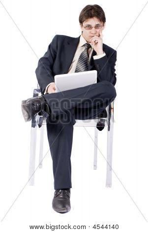 Businessman Working On Laptop Computer