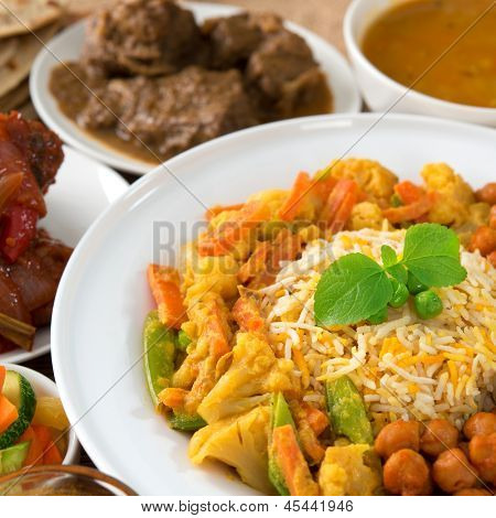 Indian cuisine biryani rice and curry. poster