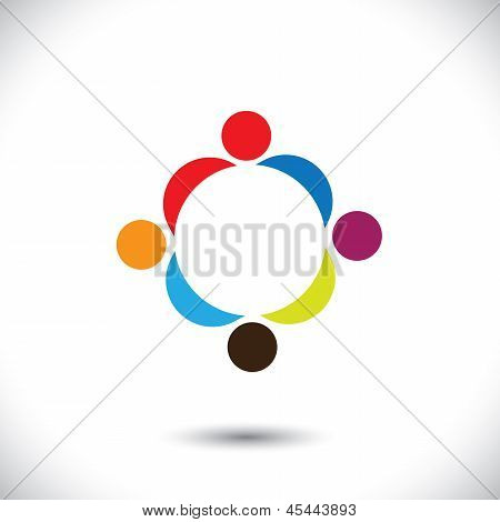Abstract Colorful People Icons Showing Close Relationship