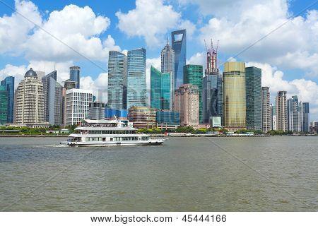 shanghai of clear skies at skyline