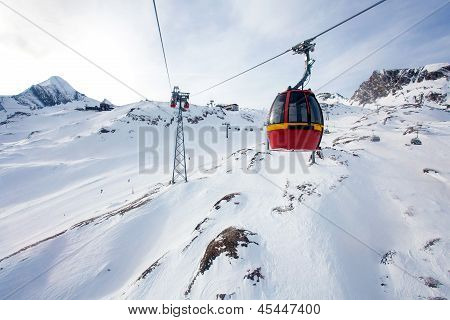 Cable Car Going To Kitzsteinhorn Peak