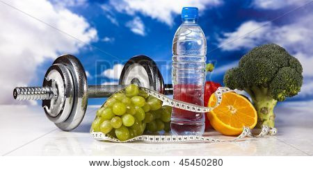 Food and measure tape , fitness poster