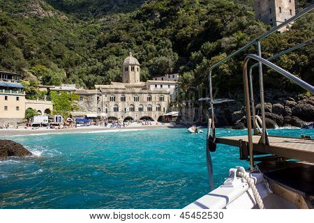 The abbey of St. Fruitful, isolated on the Ligurian coast in Italy, reachable only by boat poster