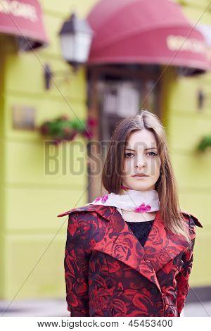Girl near the French restaurant