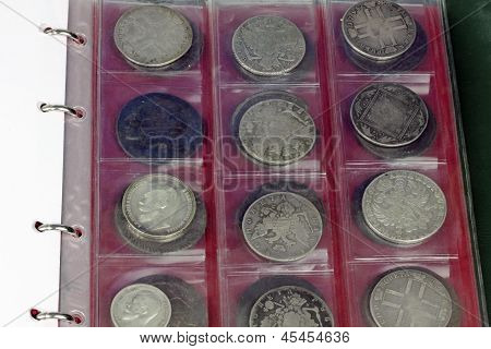 close up of old russian coins collection