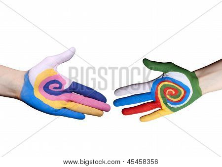 Handshake Between Painted Fingers