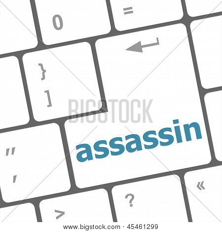 Assassin Word On Computer Pc Keyboard Key, art illustration