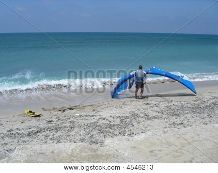 Kite Surfer On The Beach In Israel