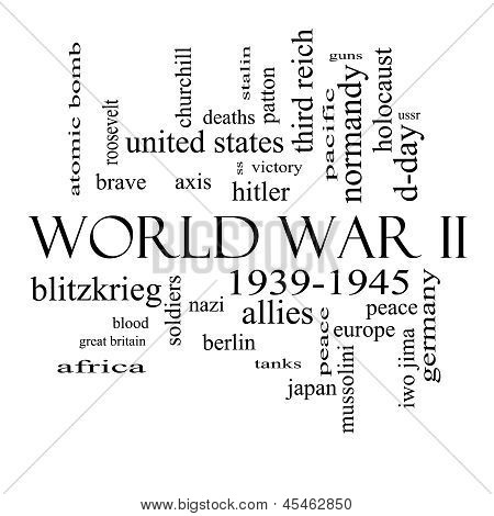 World War Ii Word Cloud Concept In Black And White