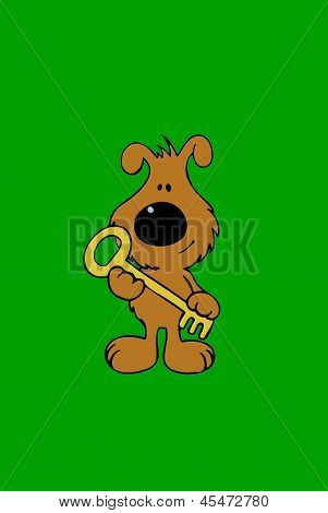poster of illustration of a dog carrying or holding a key of success or house.