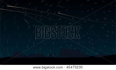 Stars Trace Circles On The Sky With Aircraft Lights.