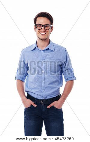 Portrait of smiling and handsome man