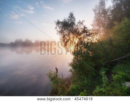 Nebligen Sonnenaufgang an einem See