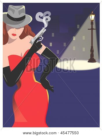 Woman in Red Dress Holding Pistol