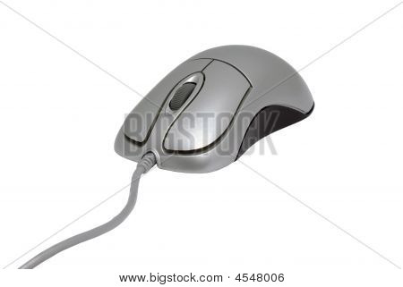 Silver PC mouse with cable isolated on white background. poster