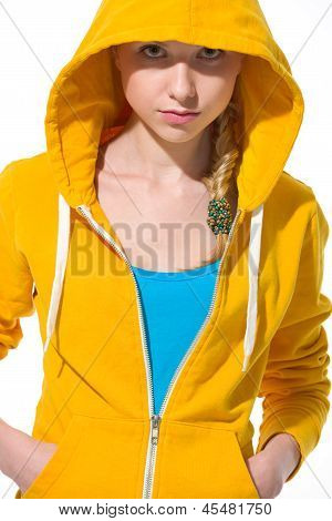 Portrait Of Modern Teenager Girl In Sweater With Draped Hood