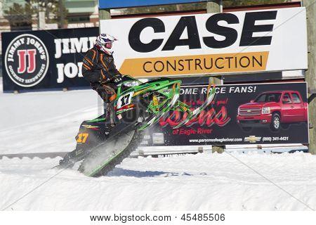 Green Arctic Cat Sno Pro Snowmobile Racing