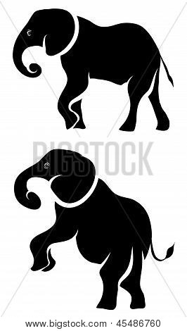 Elephant Silhouette Set