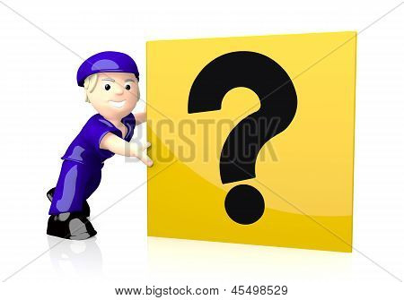 3d graphic of a unclear question icon  on yellow post box