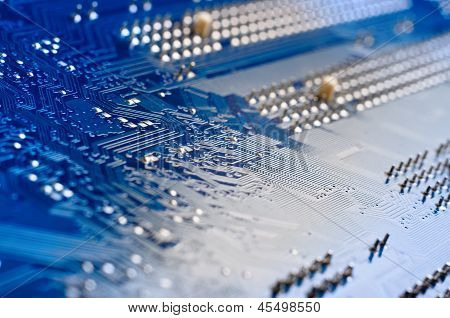 Blue circuit board close up