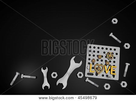 love icon on black technic background