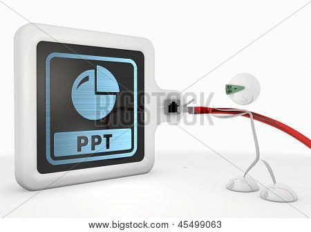 3d render of a isolated ppt symbol with futuristic 3d character