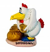 The ceramic figure of the hen putting a coin in a box and an appeal to associates to save poster