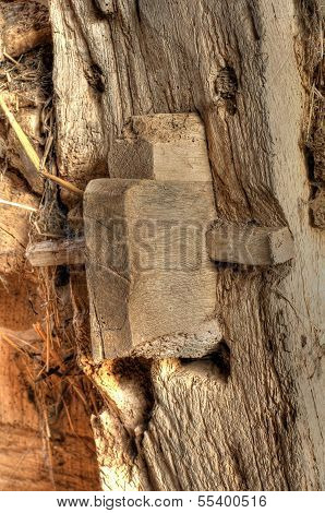 Mortise and Tenon pegged joint detail. Old Worcestershire barn, England. poster